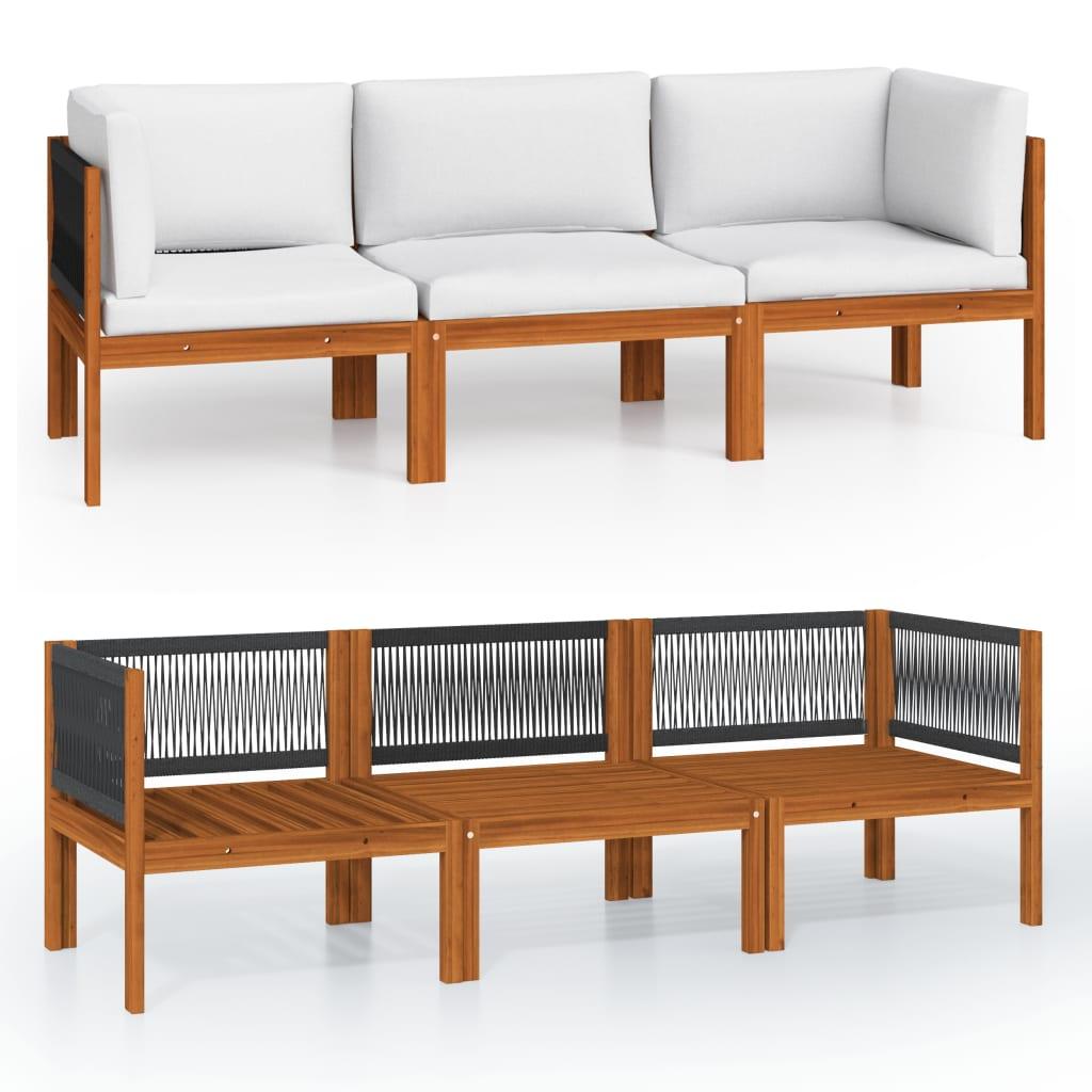 vidaXL 3-Sitzer-Gartensofa mit Kissen Massivholz Akazie