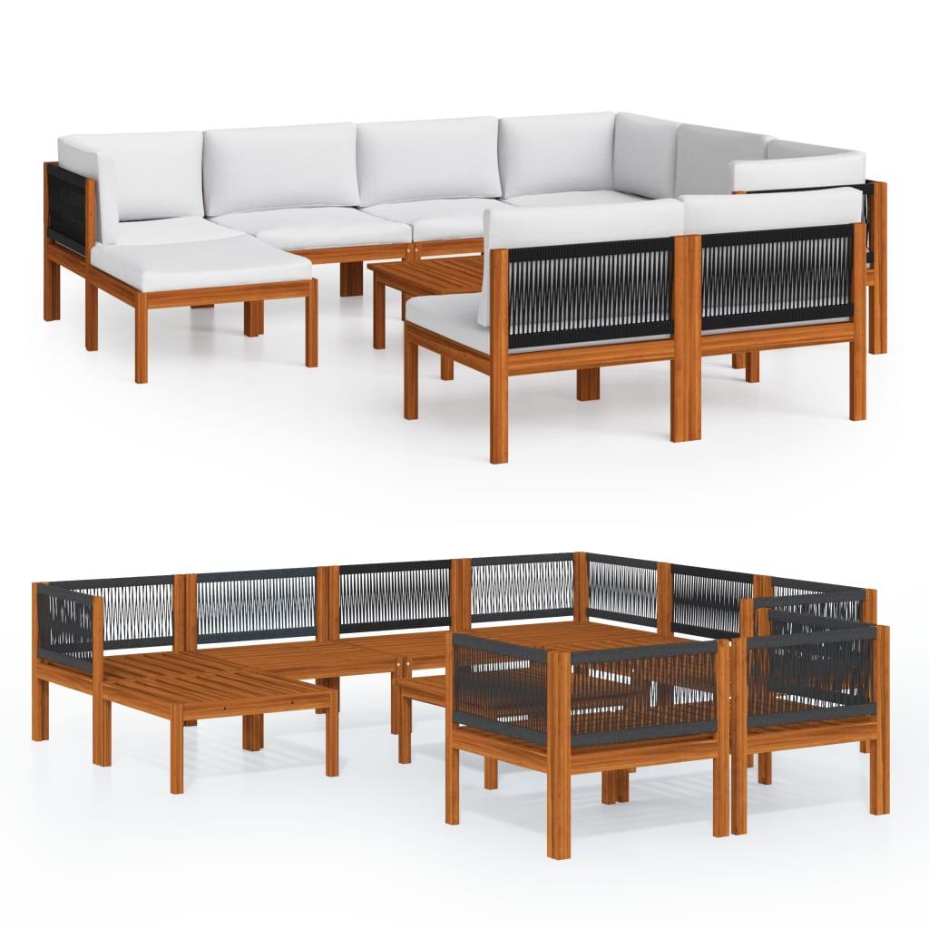 10-tlg. Garten-Lounge-Set mit Kissen Cremeweiß Massivholz Akazie