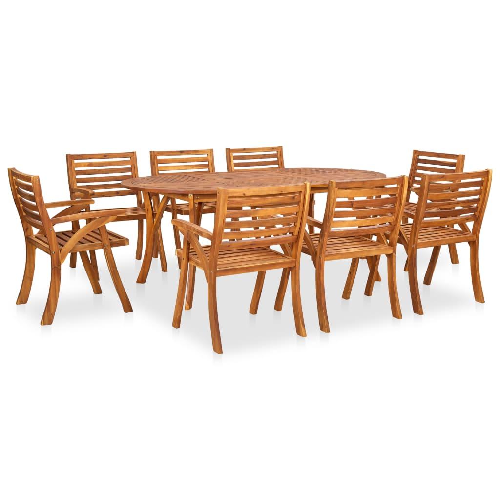 <ul><li>Material: Akazien-Massivholz, mit Öl behandelt</li><li>Abmessungen des Tisches: 201 x 100 x 75 cm (L x B x H)</li><li>Abmessungen des Stuhls: 59 x 59 x 87 cm (B x T x H)</li><li>Tischplatten-Stärke: 2 cm</li><li>Montage erforderlich: Ja</li><li><strong>Lieferung enthält:</strong></li><li>1 x Tisch</li><li>8 x Stühle</li></ul>