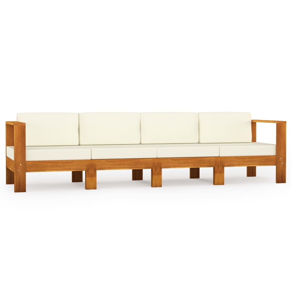 Tuinbank 4-zits met crèmewitte kussens massief acaciahout