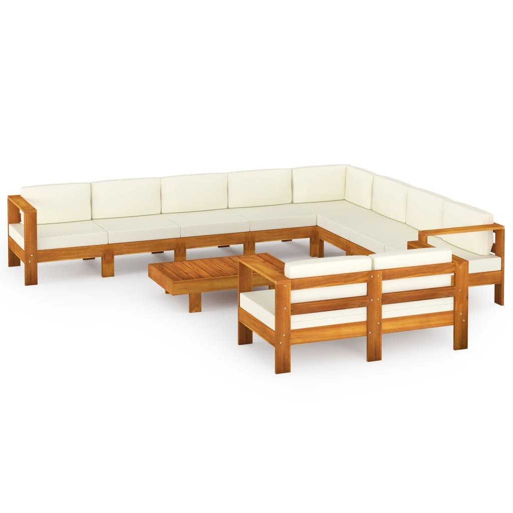 10-tlg. Garten-Lounge-Set mit Creme Auflagen Massivholz Akazie