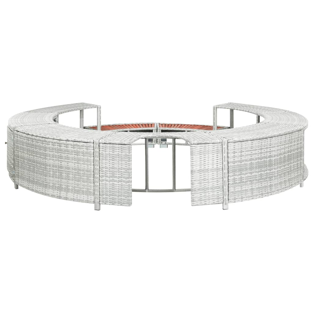 vidaXL Ograda za vruću kupku od poliratana svjetlosiva