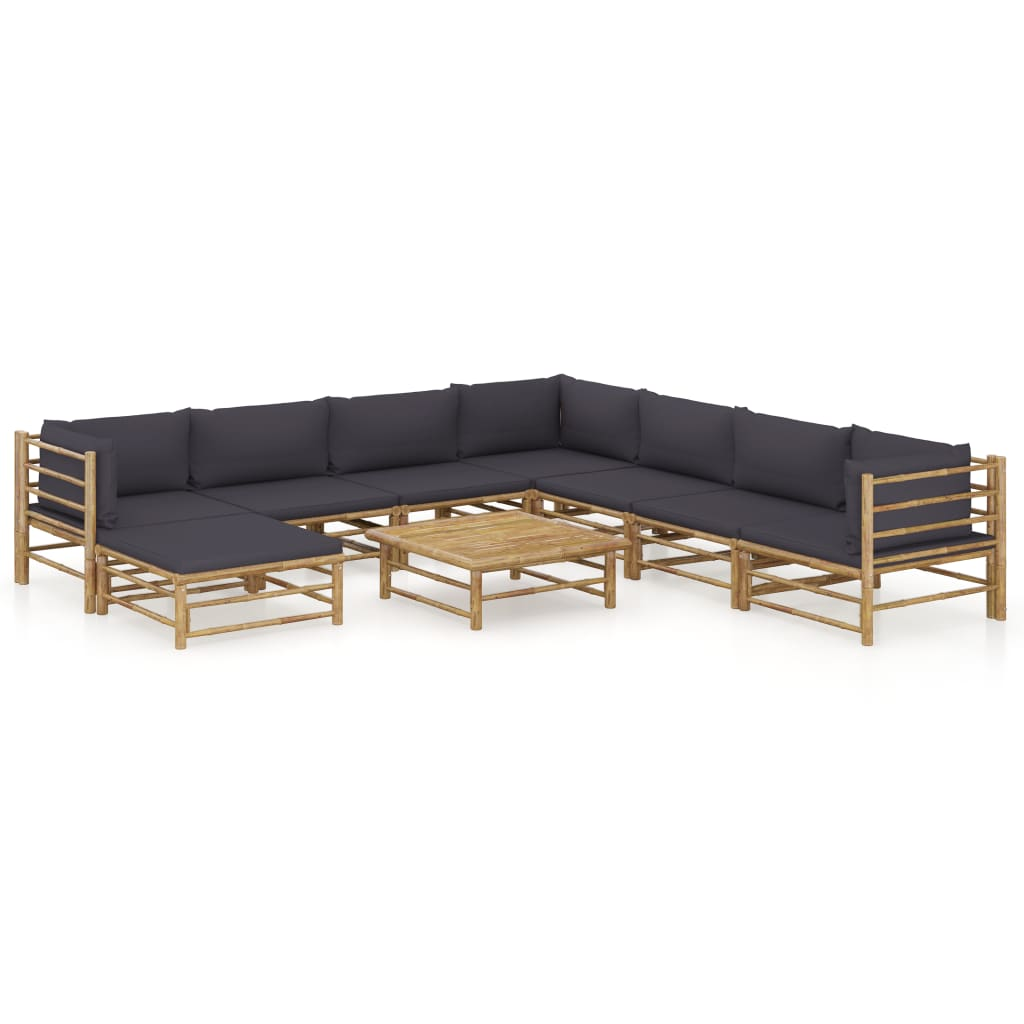 vidaXL Set mobilier de grădină, 9 piese, perne gri închis, bambus poza 2021 vidaXL