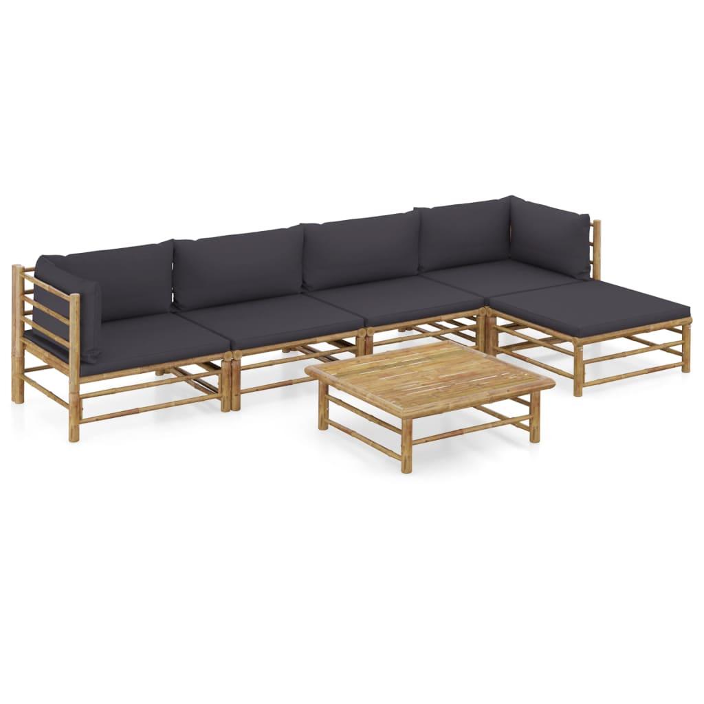 vidaXL Set mobilier de grădină, 6 piese, perne gri închis, bambus poza vidaxl.ro