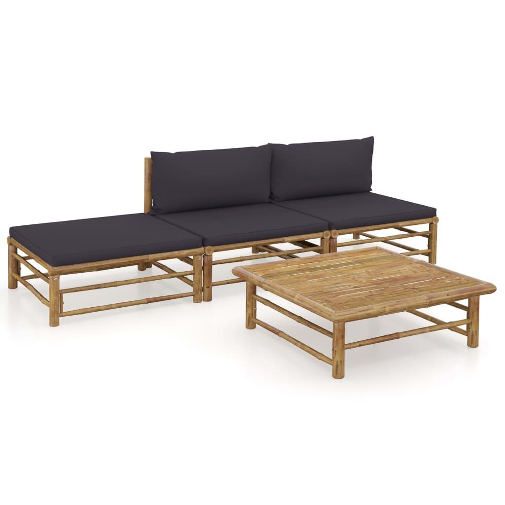 vidaXL Set mobilier de grădină, 4 piese, perne gri închis, bambus imagine vidaxl.ro