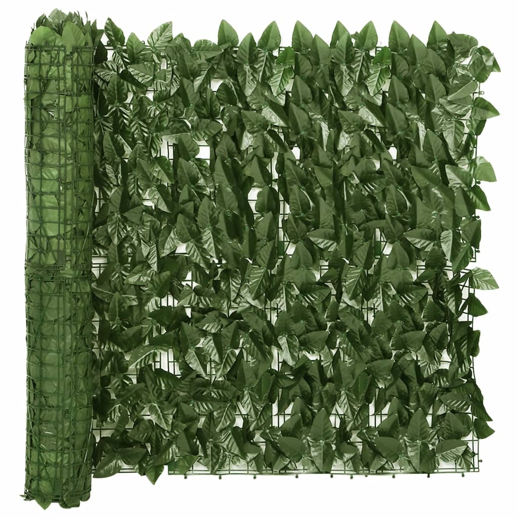vidaXL Balkonscherm met donkergroene bladeren 400x75 cm