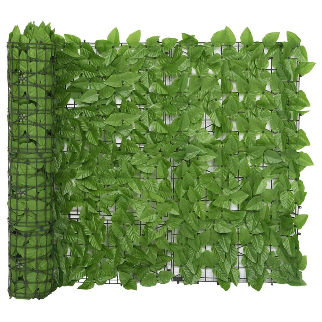 vidaXL Balkonscherm met groene bladeren 400x100 cm