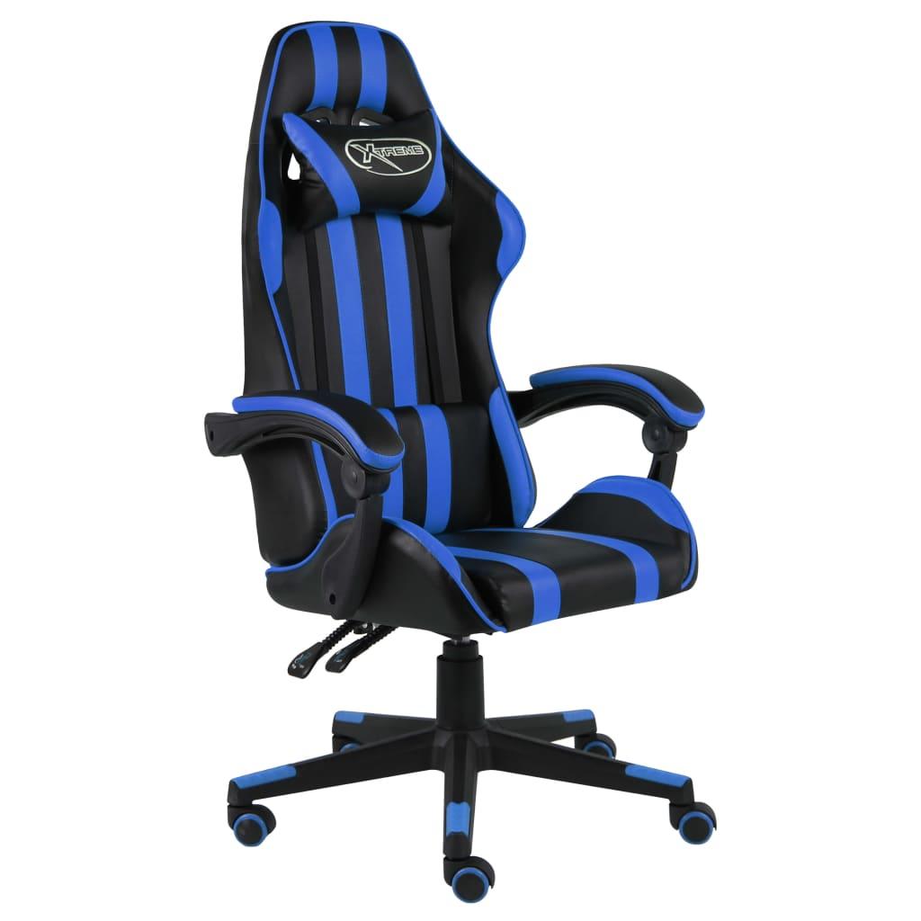 vidaXL Scaun de racing, negru și albastru, piele ecologică poza vidaxl.ro