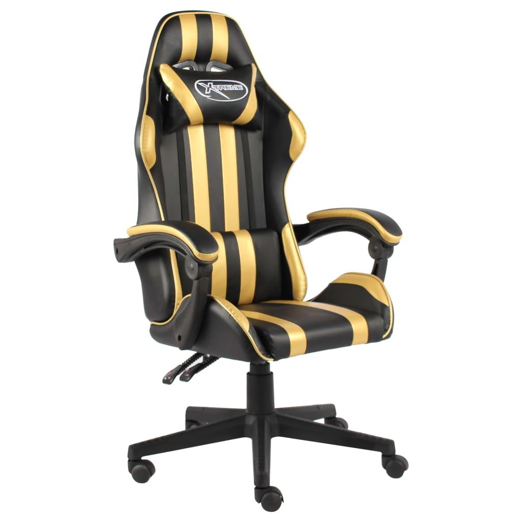 Herní židle černo-zlatá umělá kůže