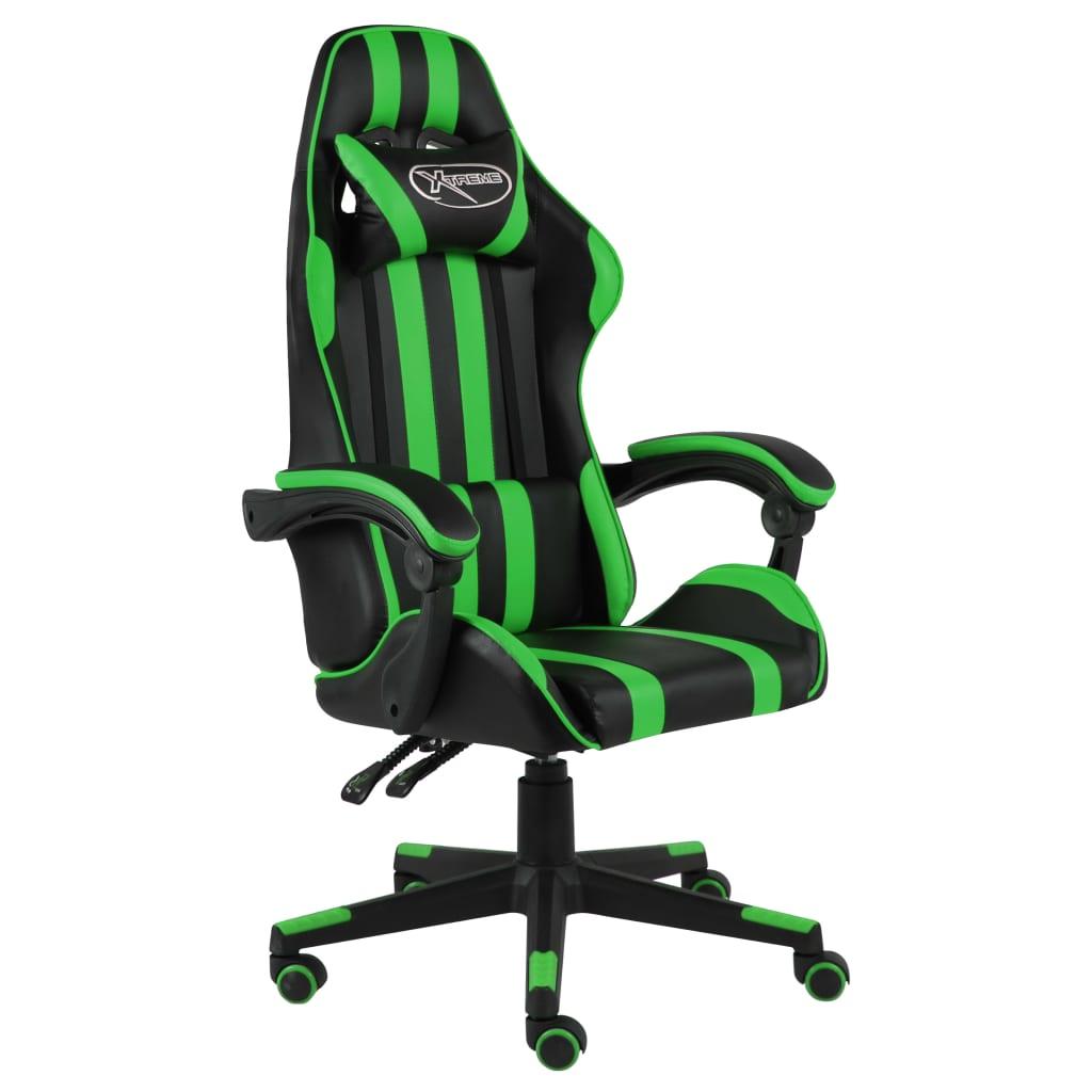 vidaXL Scaun de racing, negru și verde, piele ecologică imagine vidaxl.ro