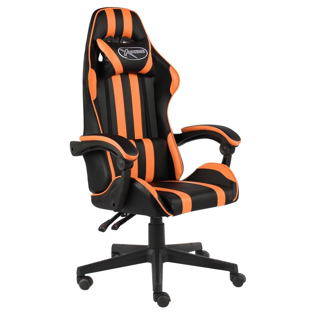 Herní židle černo-oranžová umělá kůže
