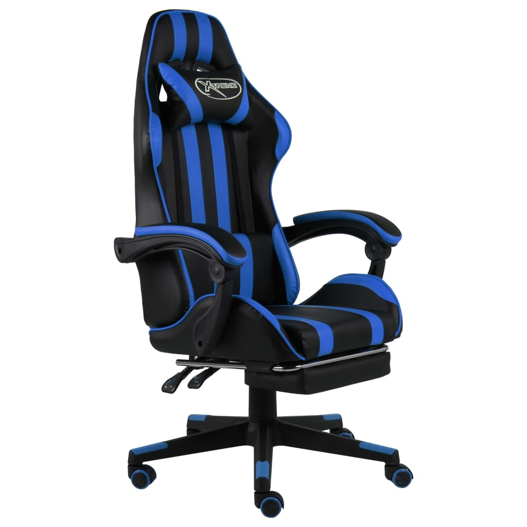 vidaXL Scaun racing suport picioare negru/albastru piele ecologică imagine vidaxl.ro