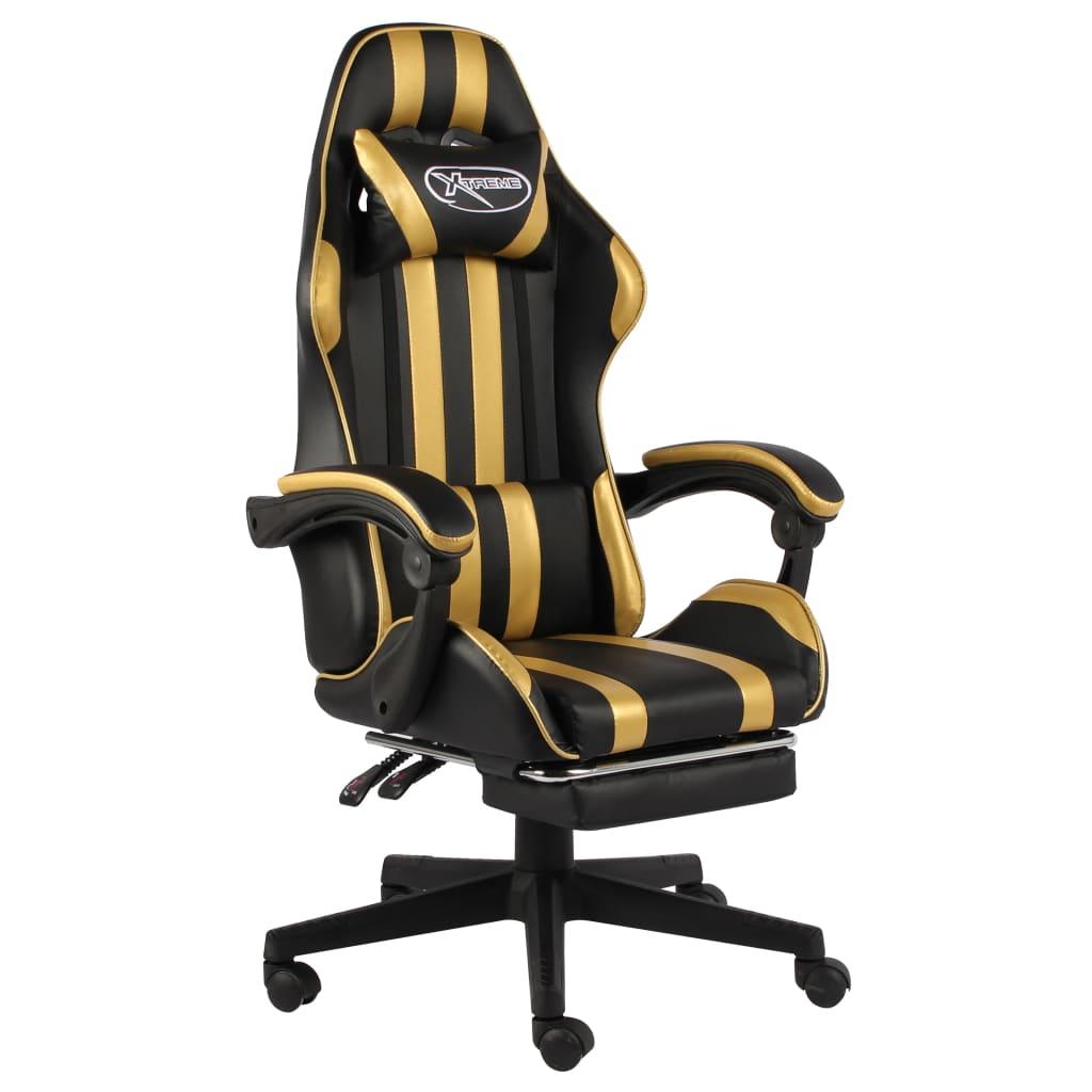 vidaXL Scaun de racing suport picioare auriu/negru piele ecologică imagine vidaxl.ro