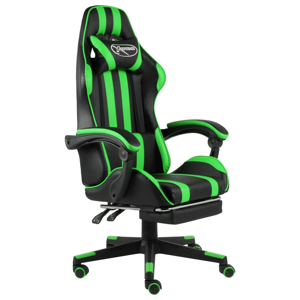 vidaXL Scaun de racing suport picioare negru/verde piele ecologică vidaxl.ro