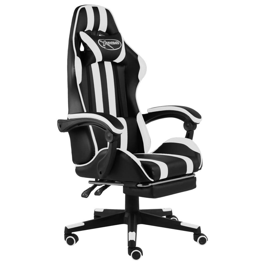 Herní židle s podnožkou černobílá umělá kůže