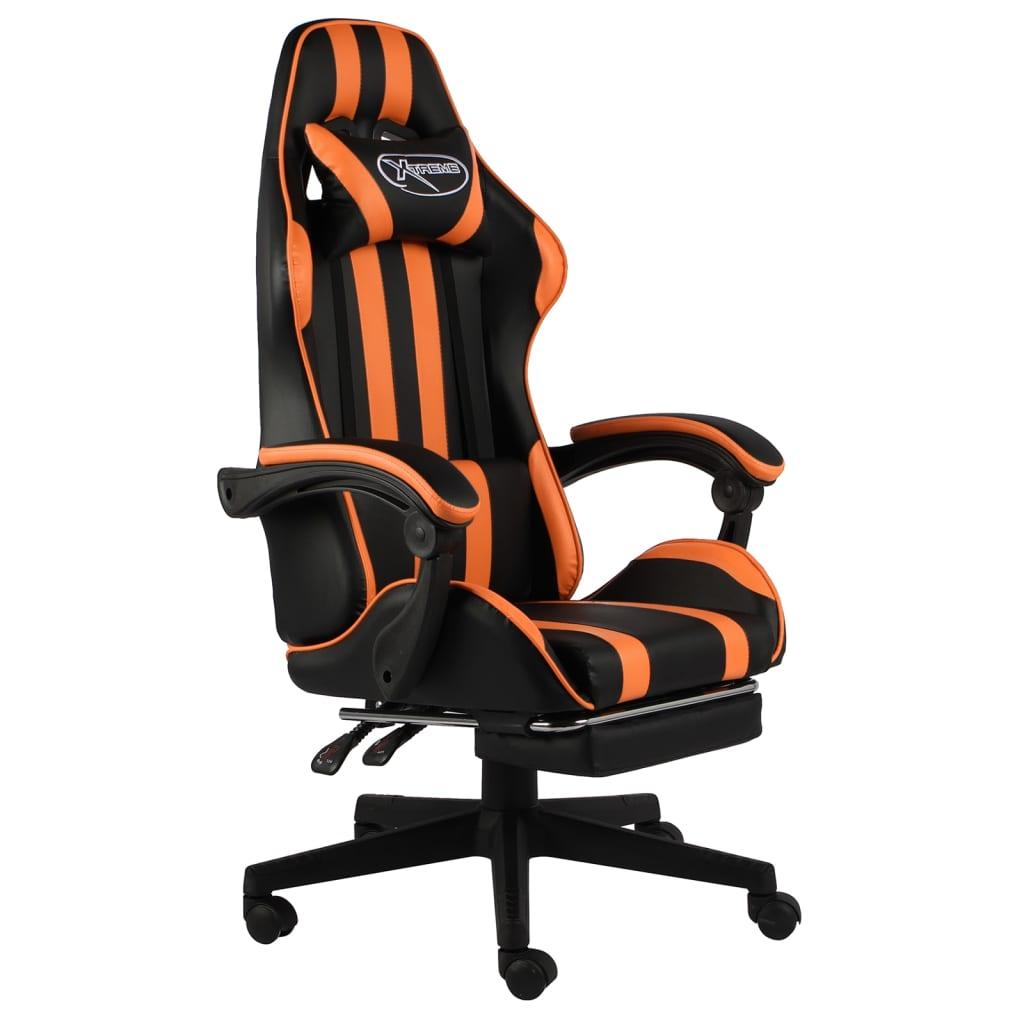 Herní židle s podnožkou černo-oranžová umělá kůže
