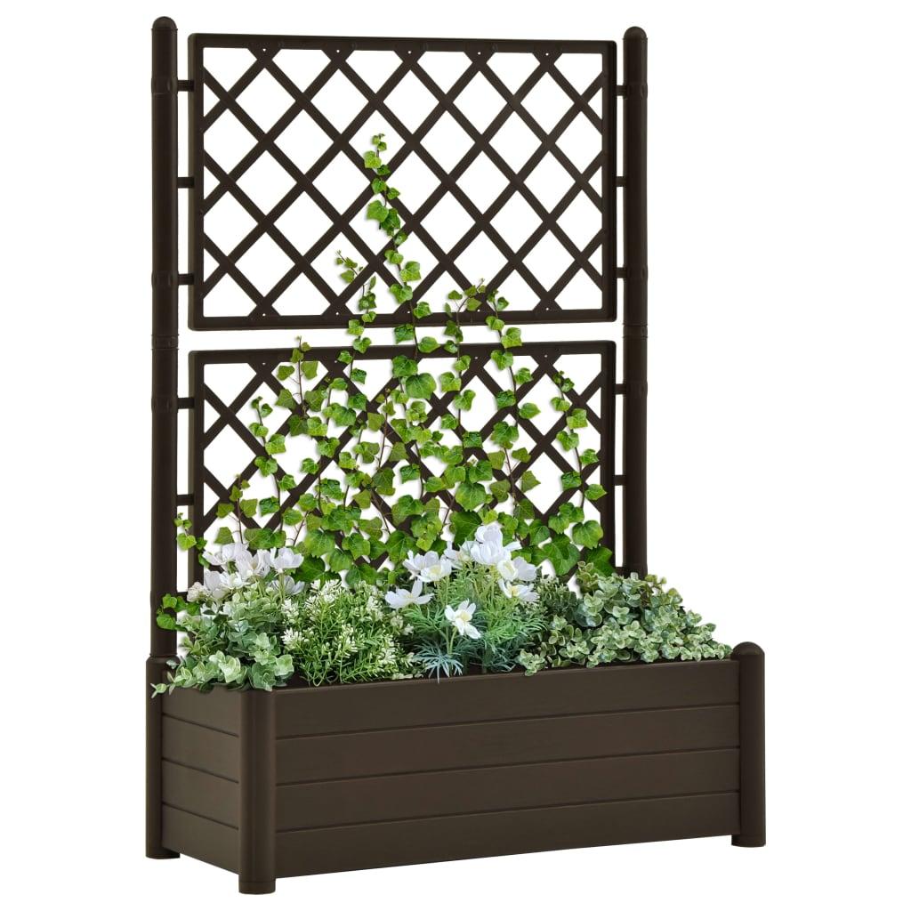 vidaXL Jardinieră de grădină cu spalier, cafeniu, 100 x 43 x 142 cm PP imagine vidaxl.ro