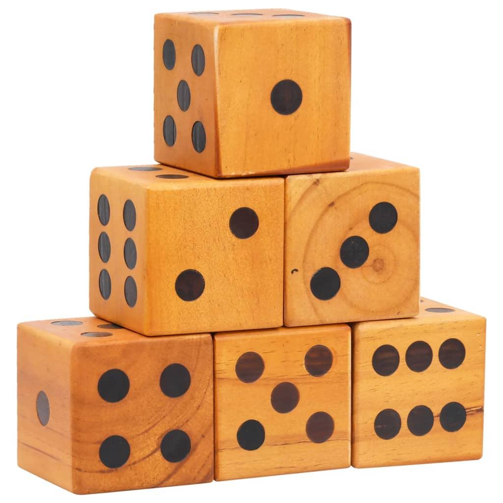 vidaXL Sada obřích hracích kostek 6 ks masivní borové dřevo