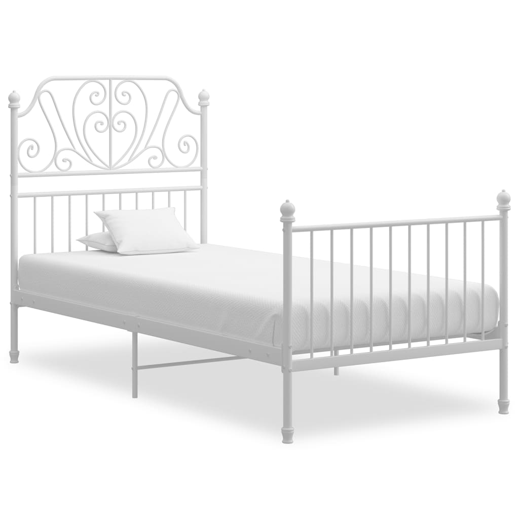 vidaXL Bettgestell Weiß Metall und Sperrholz 100×200 cm