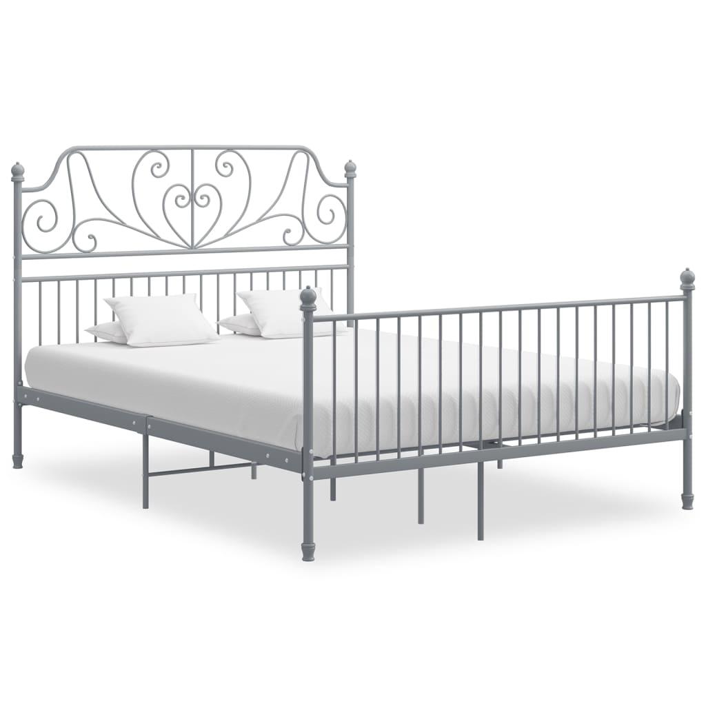 vidaXL Bettgestell Grau Metall und Sperrholz 140×200 cm