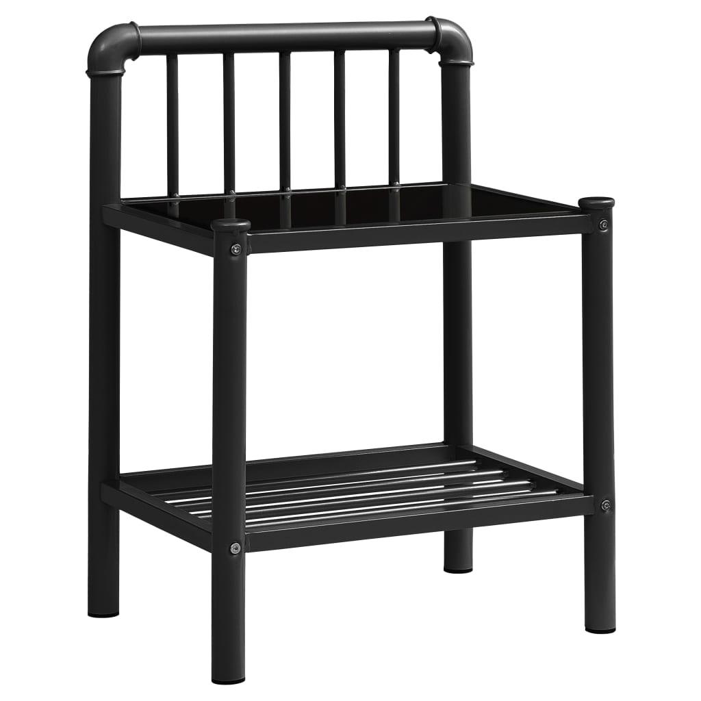 Nachtkastje 45x34,5x62,5 cm metaal en glas zwart