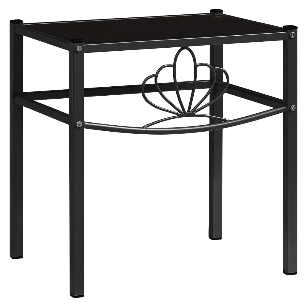 Noční stolek černý 42,5 x 33 x 44,5 cm kov a sklo