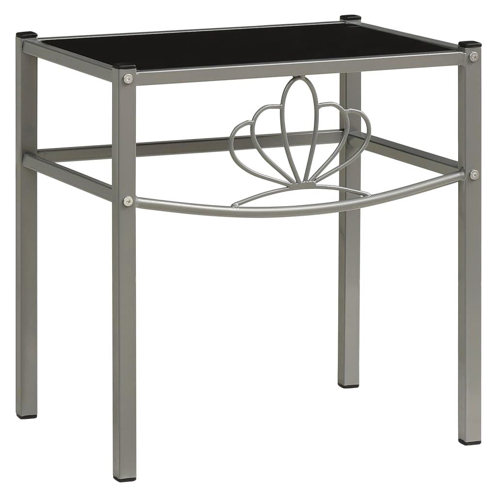 Noční stolek šedý a černý 42,5 x 33 x 44,5 cm kov a sklo