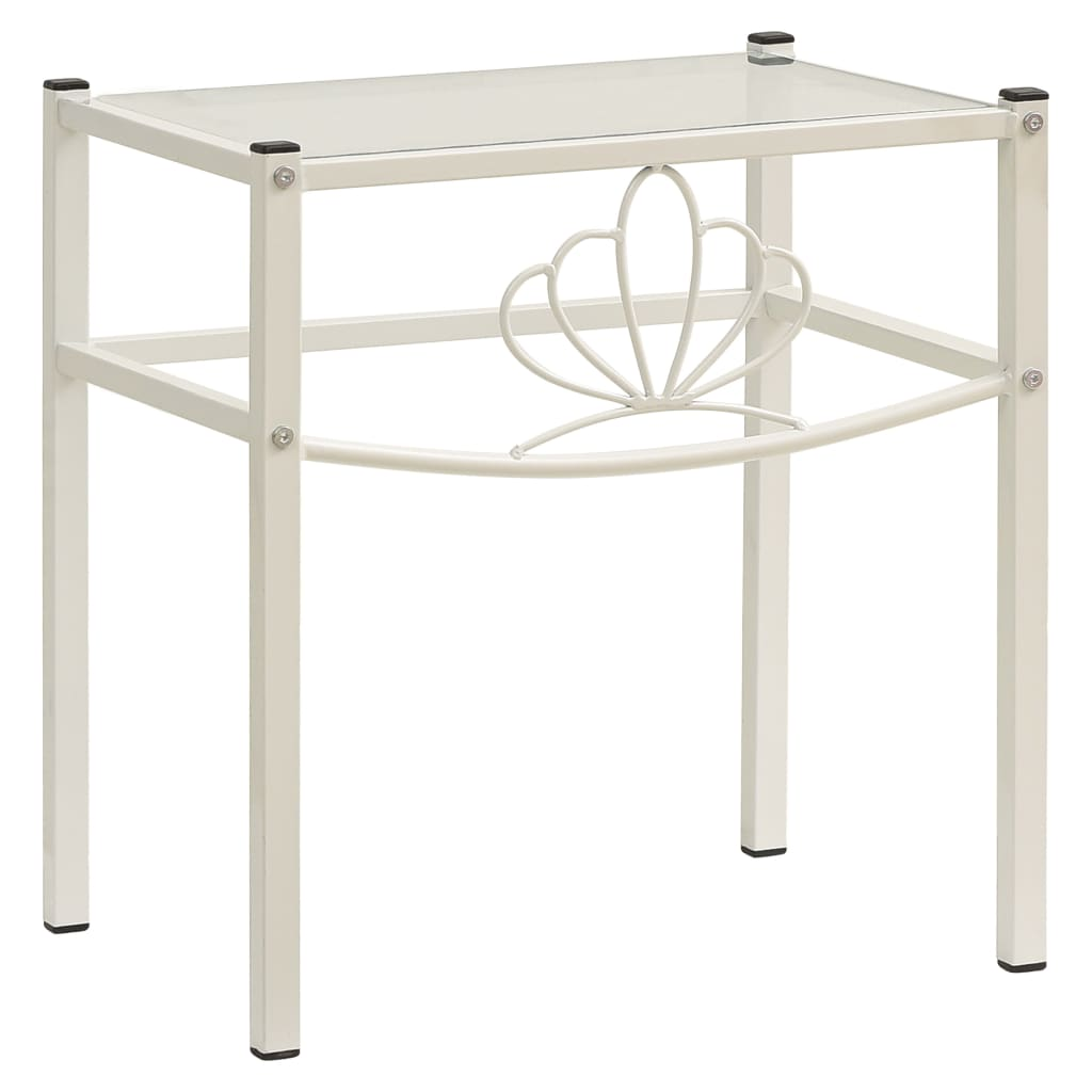 Noční stolek bílý a průhledný 42,5 x 33 x 44,5 cm kov a sklo