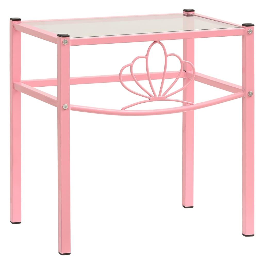 Noční stolek růžový a průhledný 42,5 x 33 x 44,5 cm kov a sklo