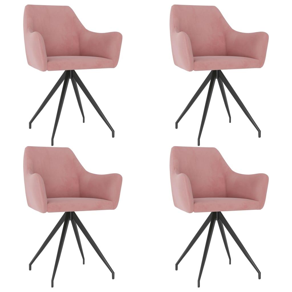 vidaXL Blagovaonske stolice 4 kom ružičaste baršunaste
