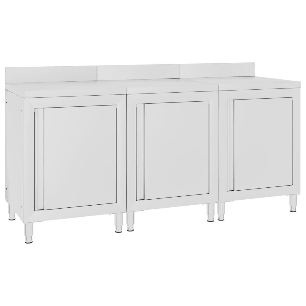 vidaXL Gastro pracovní stůl se skříňkou 180 x 60 x 96 cm nerezová ocel