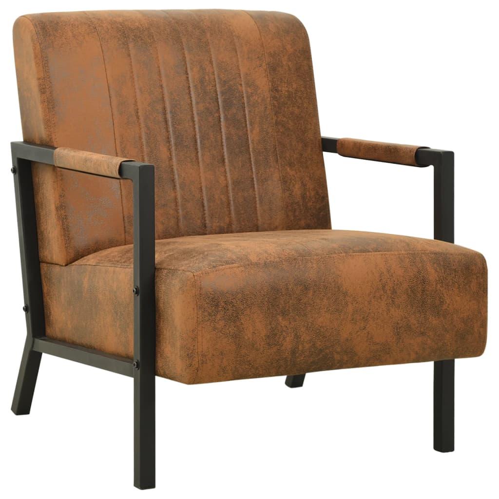 vidaXL Fotelja od tkanine smeđa