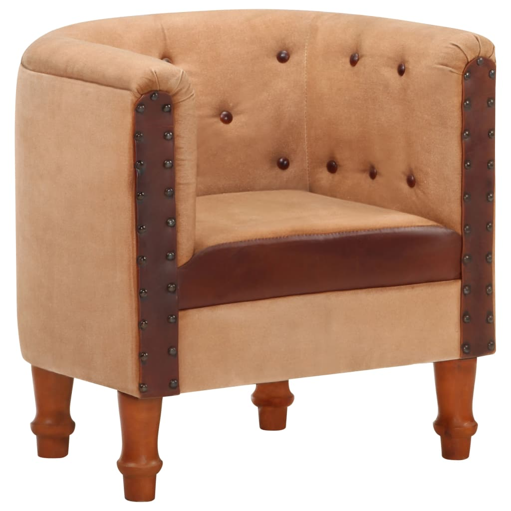 vidaXL Zaobljena fotelja smeđa od prave kože i masivnog drva manga