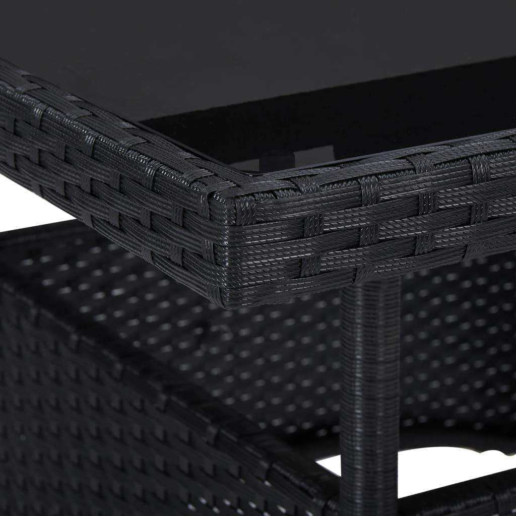 vidaXL 3-delige Tuinset poly rattan en glas zwart