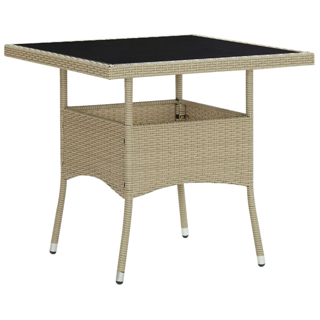 vidaXL 3-delige Tuinset poly rattan en glas beige