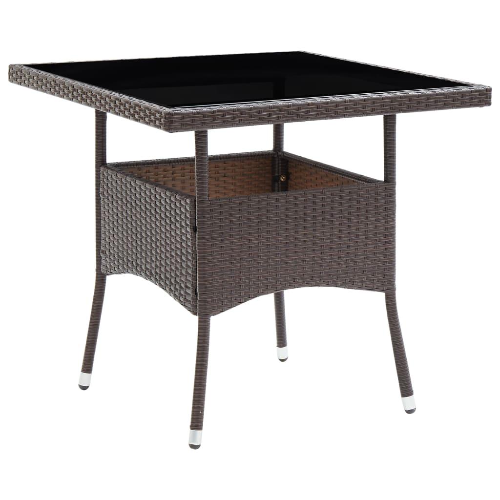 vidaXL 3-delige Tuinset poly rattan en glas bruin