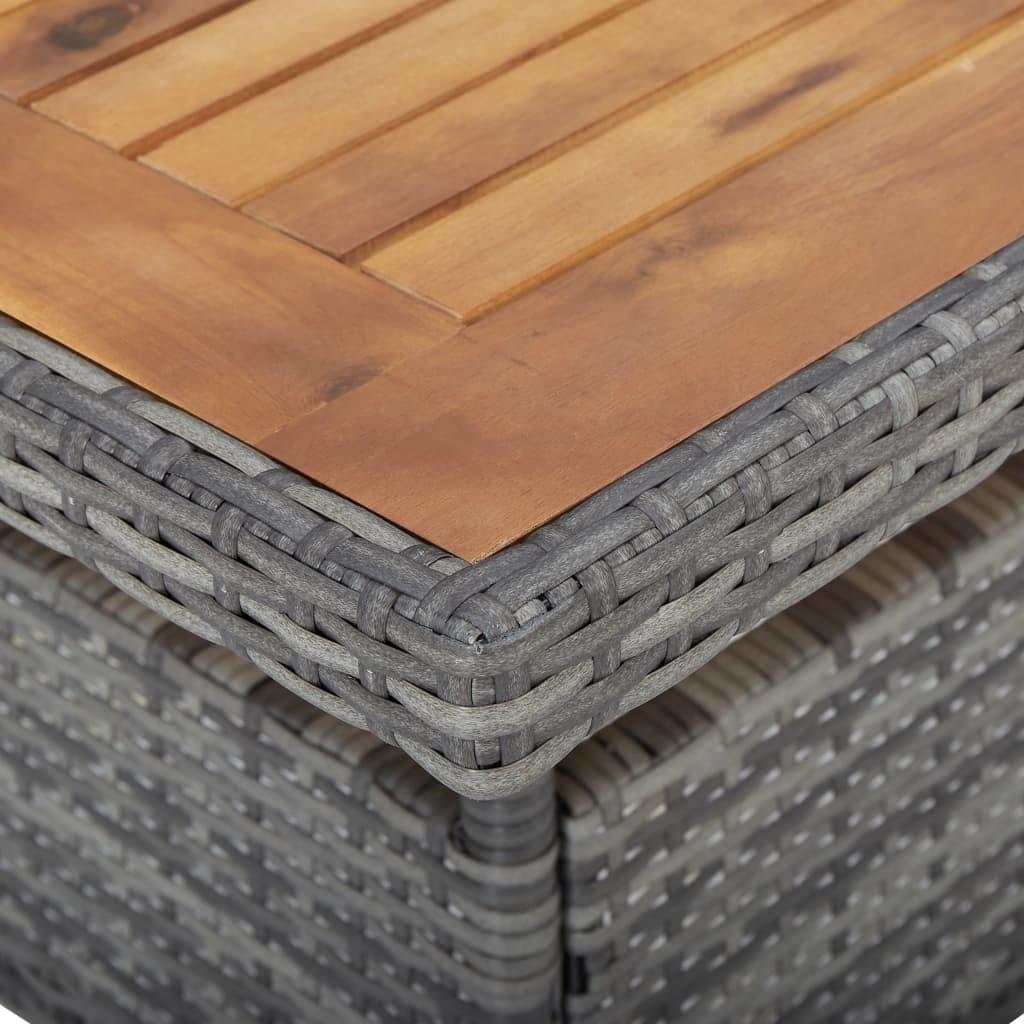 vidaXL 3-delige Tuinset poly rattan en acaciahout grijs