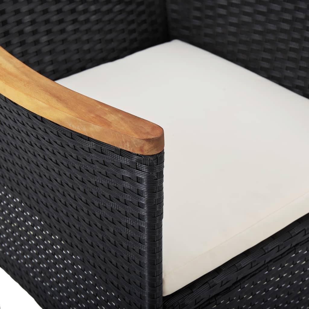 vidaXL 3-delige Tuinset poly rattan en acaciahout zwart