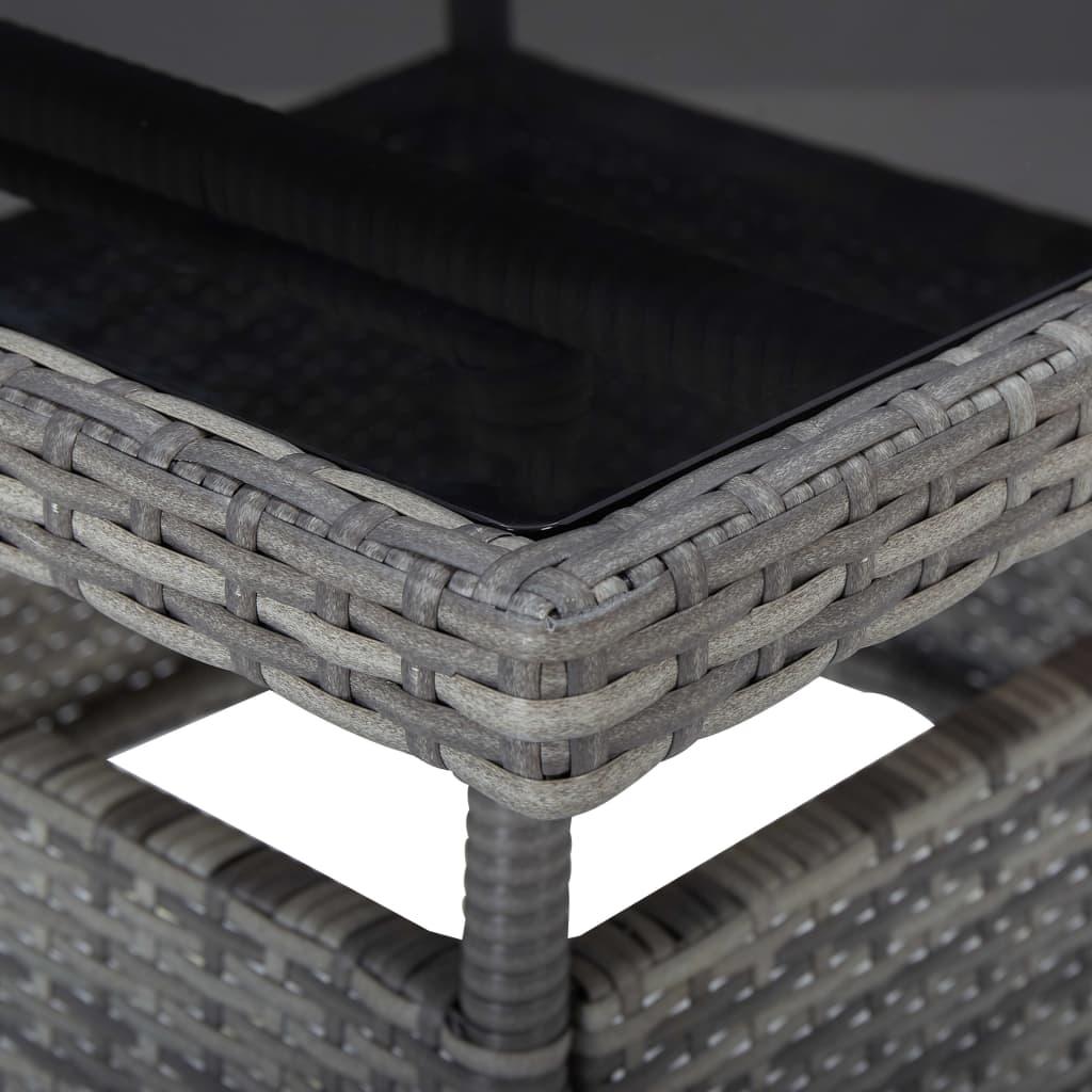 vidaXL 3-delige Tuinset poly rattan en glas grijs