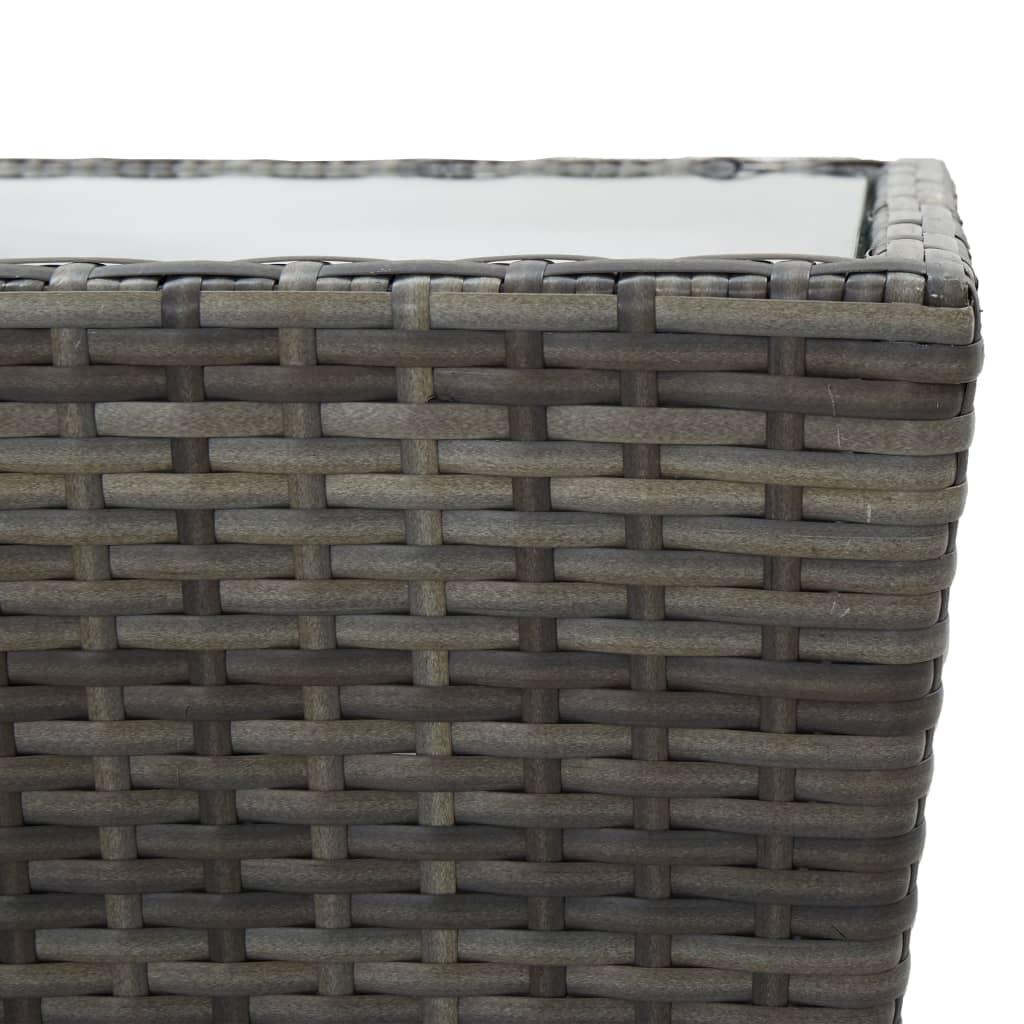 vidaXL 3-delige Bistroset poly rattan en glas grijs