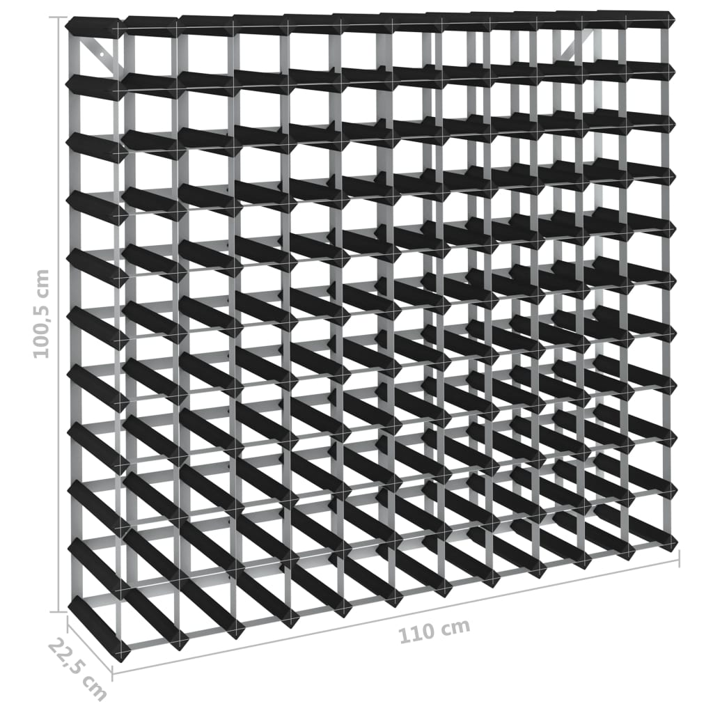 vidaXL Wijnrek voor 120 flessen massief grenenhout zwart