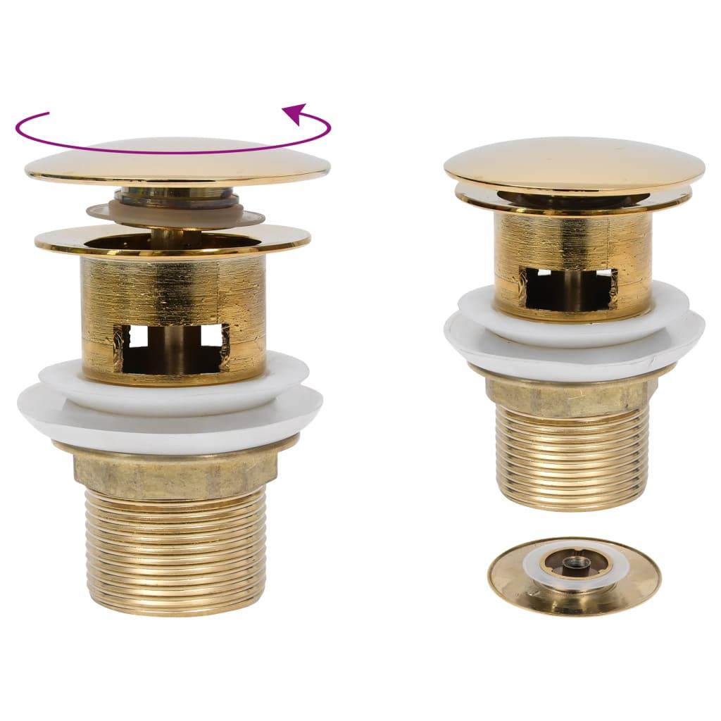 Umyvadlová výpusť s přepadem zlatá 6,4 x 6,4 x 9,1 cm