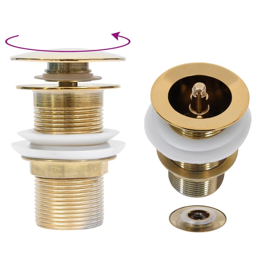 Umyvadlová výpusť bez přepadu zlatá 6,4 x 6,4 x 9,1 cm