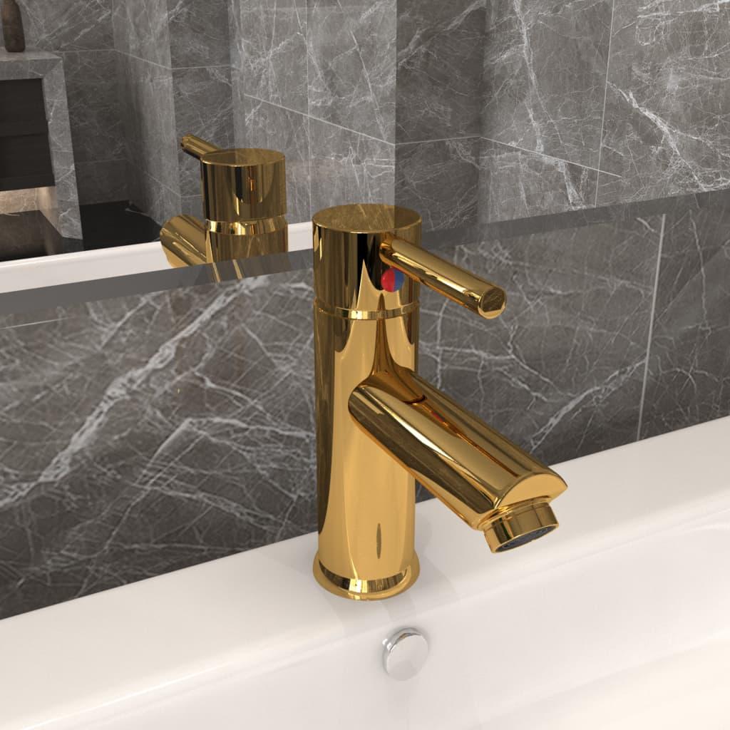 Koupelnová umyvadlová vodovodní baterie zlatá 130 x 176 mm