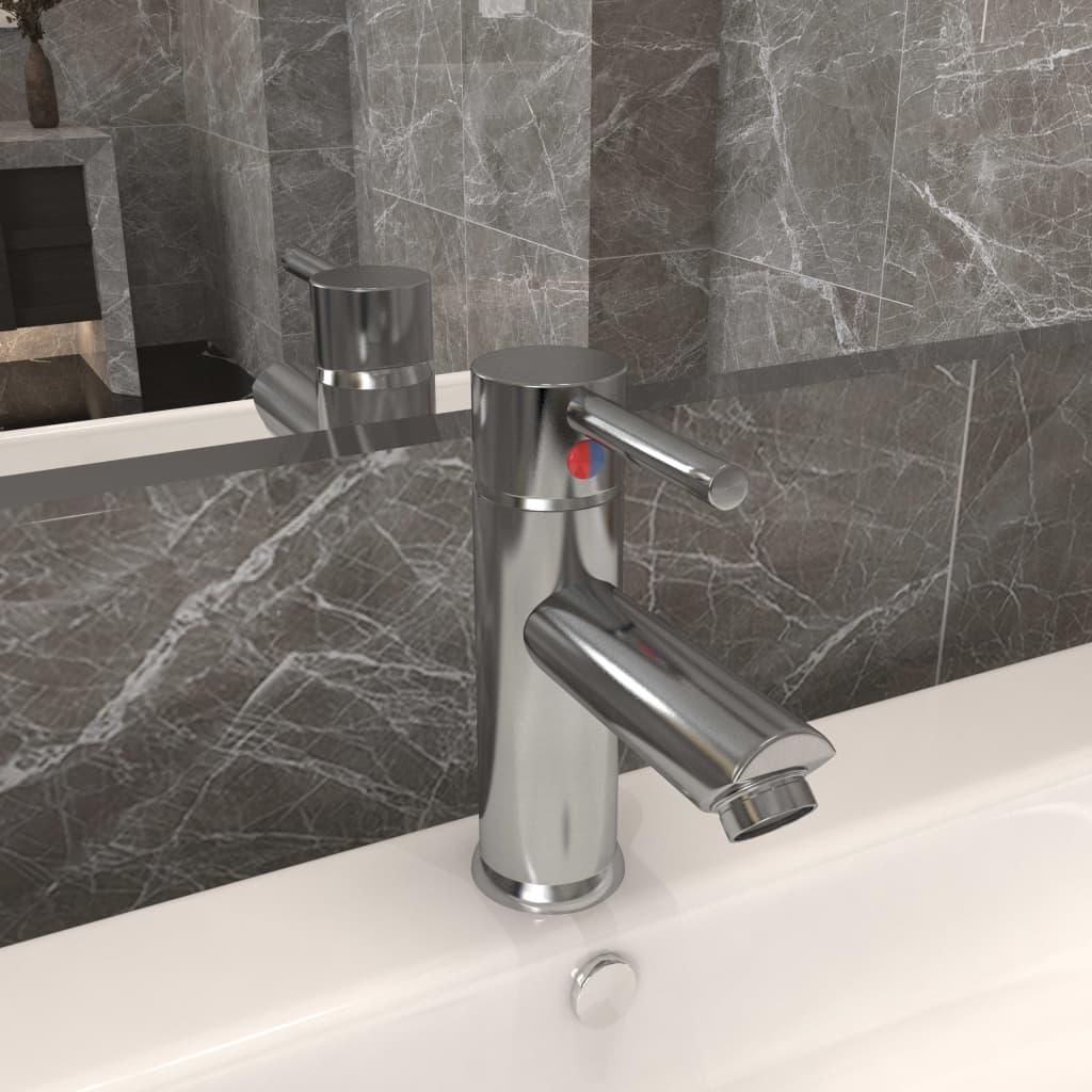 Koupelnová umyvadlová vodovodní baterie niklová 130 x 176 mm