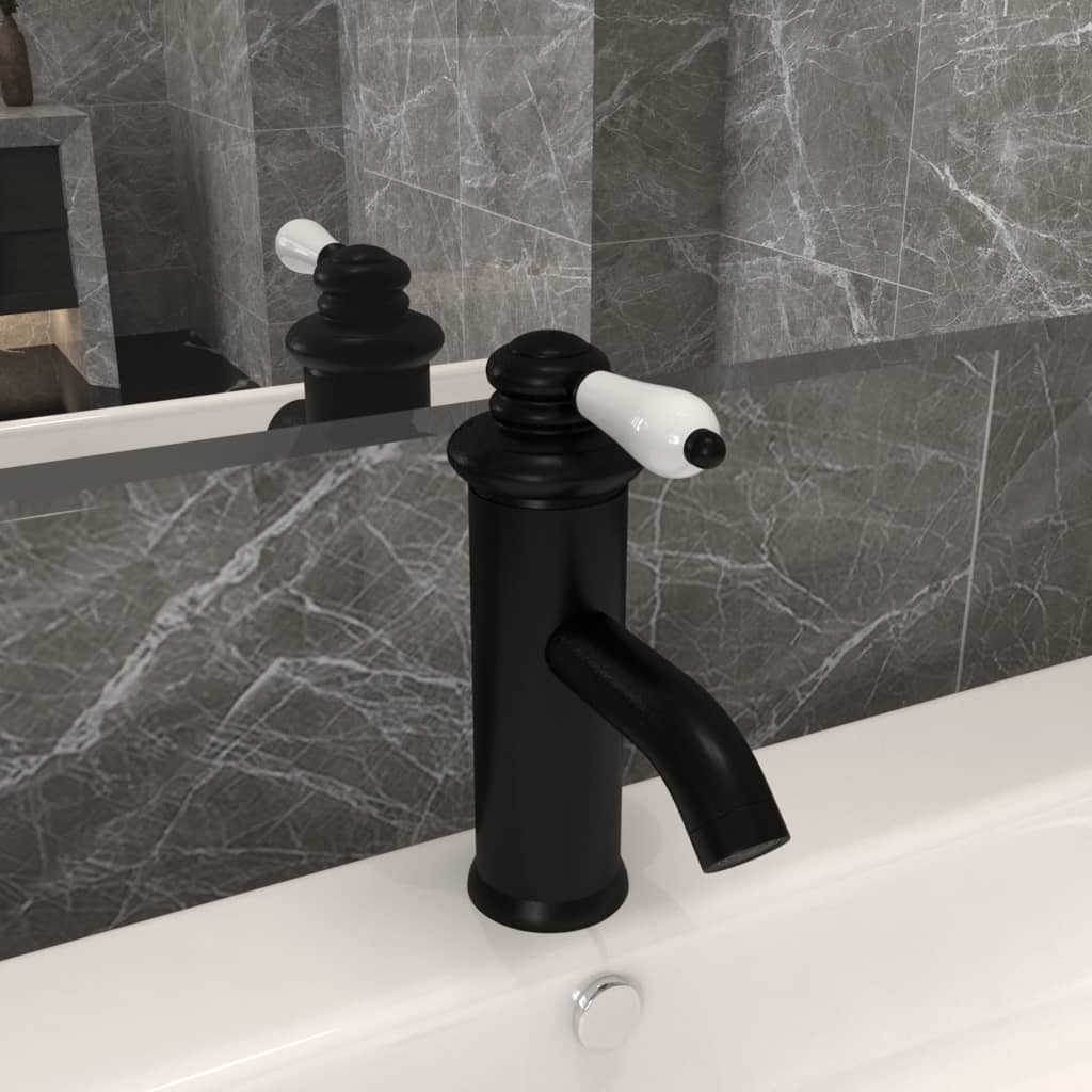 Koupelnová umyvadlová vodovodní baterie černá 130 x 180 mm