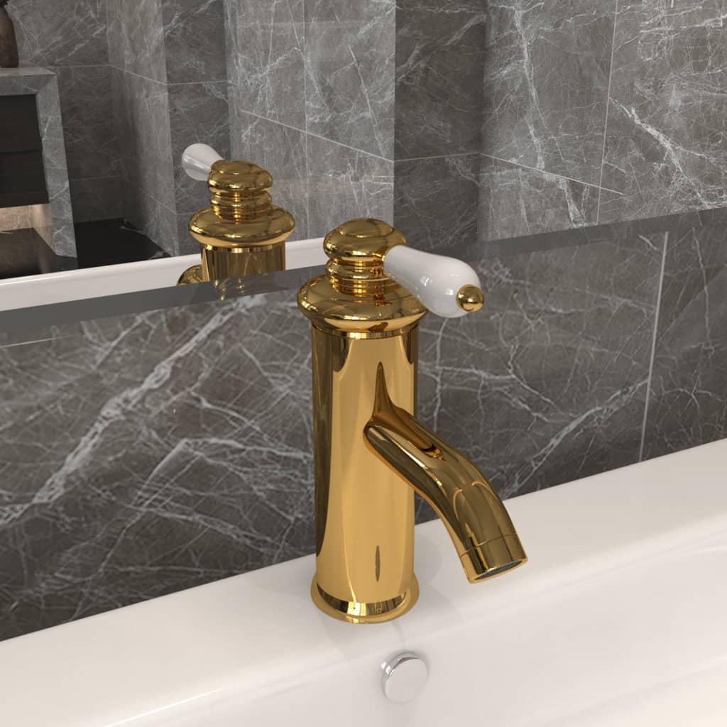 Koupelnová umyvadlová vodovodní baterie zlatá 130 x 180 mm