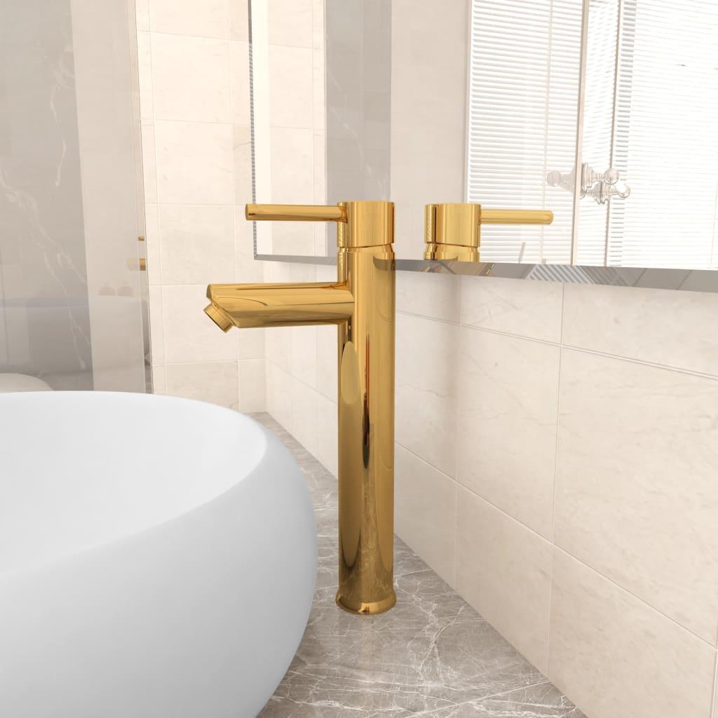 Koupelnová směšovací baterie zlatá 12 x 30 cm
