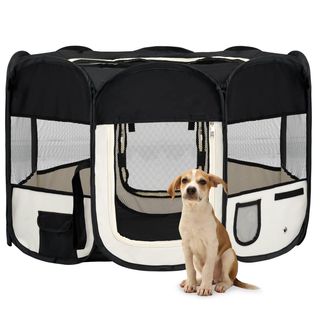 vidaXL Țarc de câini pliabil cu sac de transport, negru, 110x110x58 cm imagine vidaxl.ro