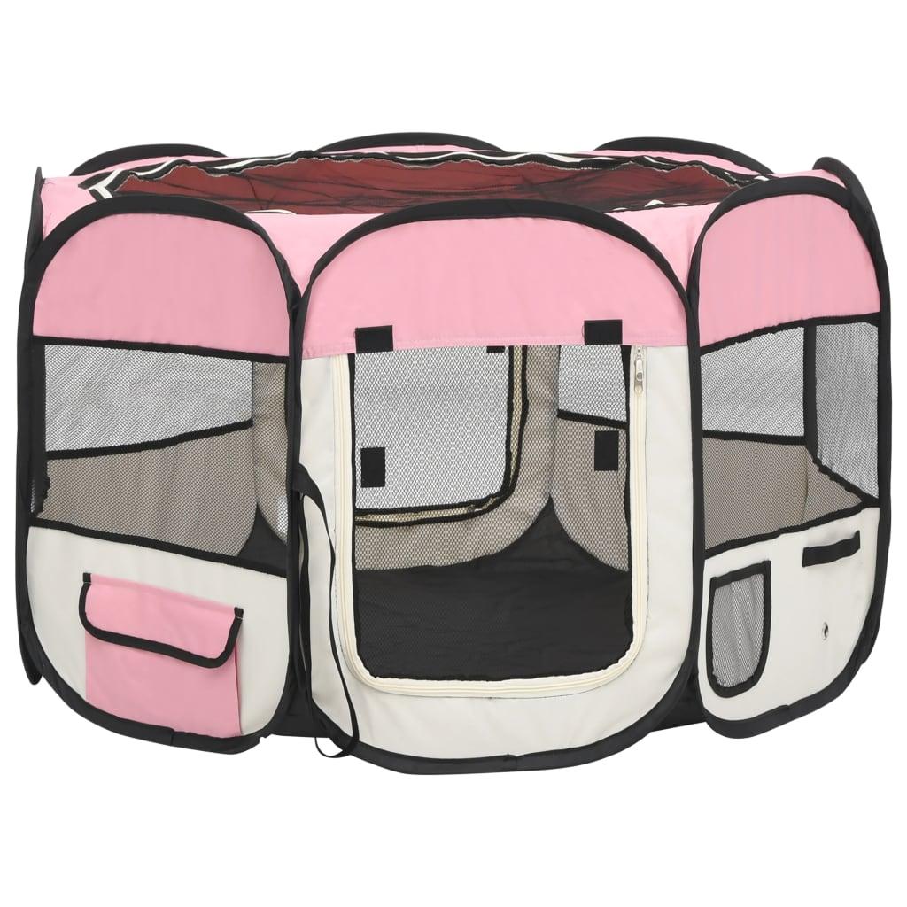 vidaXL Hondenren inklapbaar met draagtas 90x90x58 cm roze